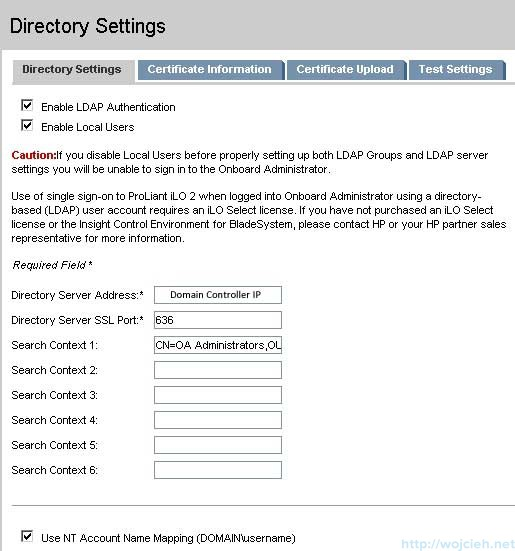 Onboard-Administrator-Directory-Settings