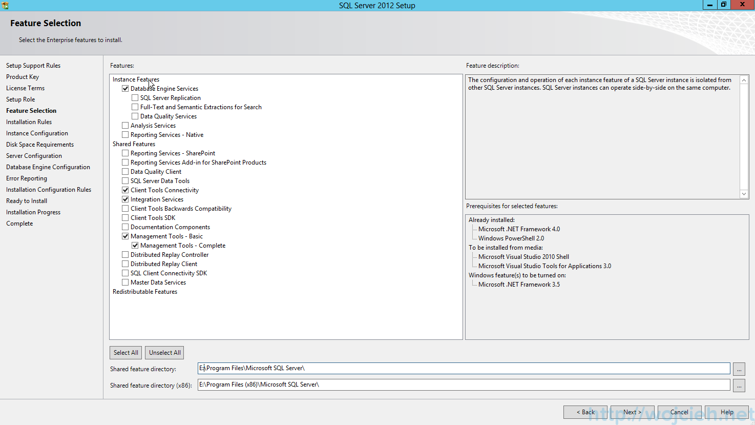 SQL Server 2012 SP1 - Feature Selection