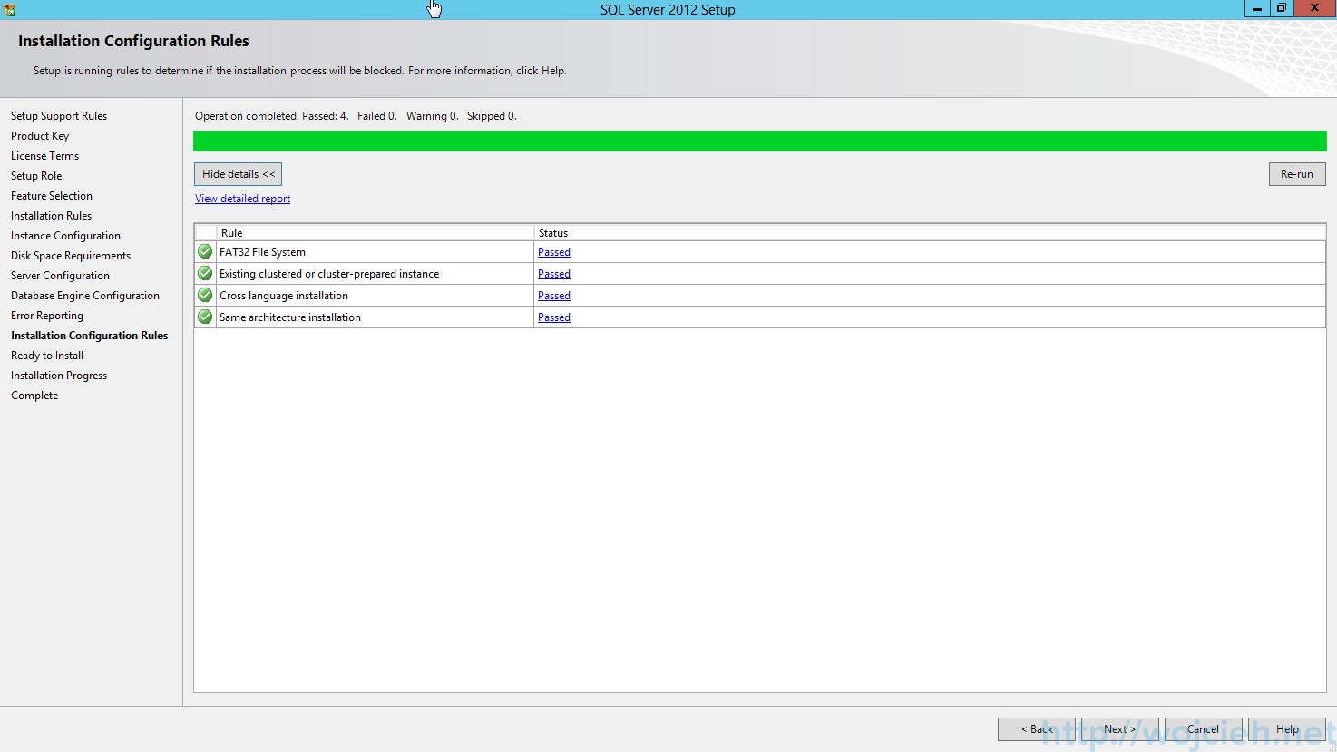 SQL Server 2012 SP1 - Installation Configuration Rules