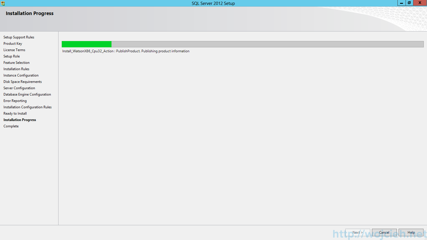 SQL Server 2012 SP1 - Installation Progress