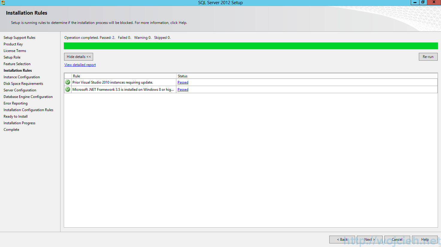 SQL Server 2012 SP1 - Installation Rules