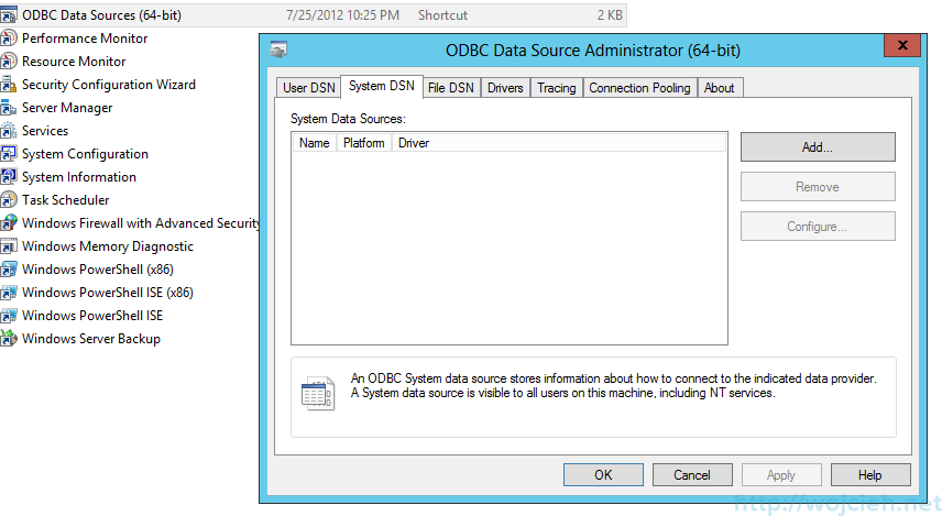 Windows Server 2012 ODBC Data Source (64-bit)