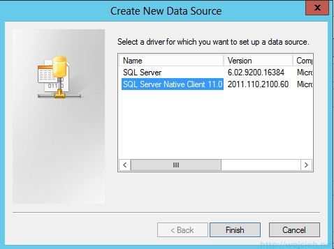 Windows Server 2012 SQL Server Native Client DSN
