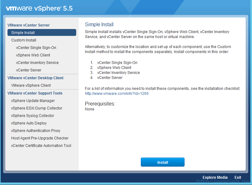 vCenter Server 5.5 Simple Install