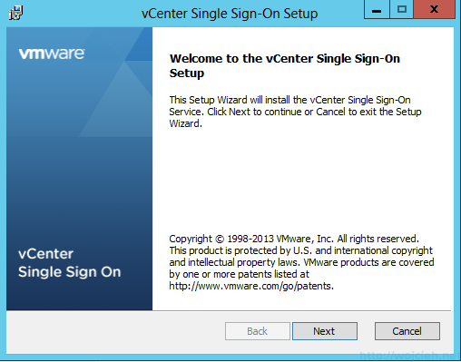 vCenter Single Sign-On Installation 2