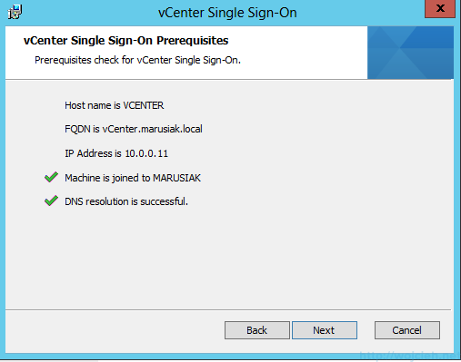 vCenter Single Sign-On Installation 4