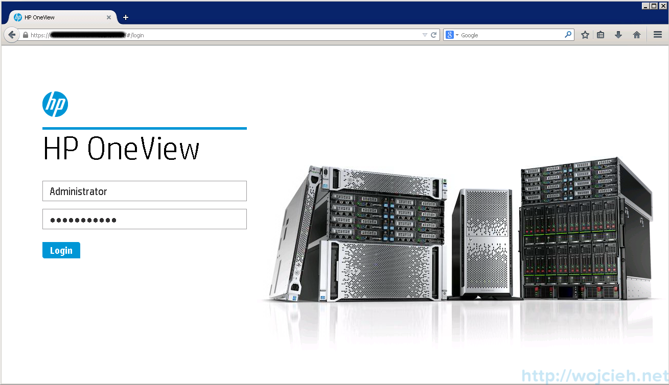 HP OneView login page
