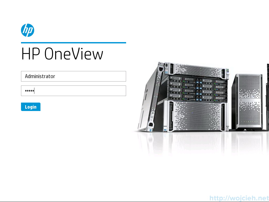 HP OneView Logon page