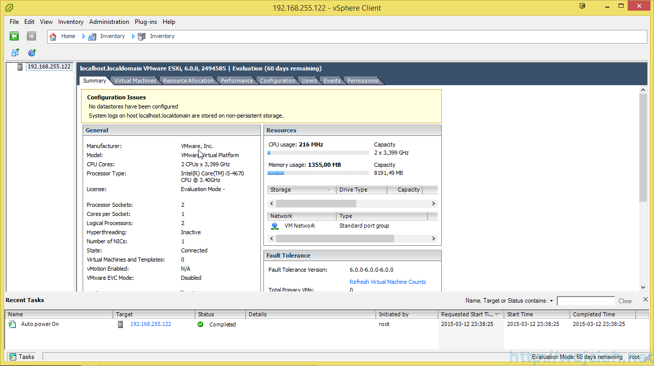 Installing VMware ESXi 6 0 in VMware Workstation 11