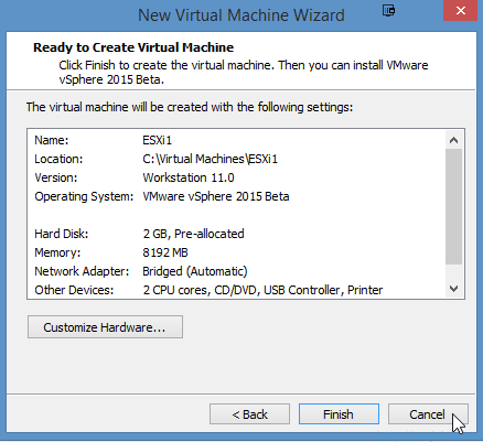 Installing VMware ESXi 6.0 in VMware Workstation 11 - 16