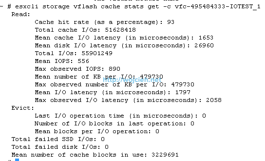 vFlash Read Cache cache stats sequential 180 seconds