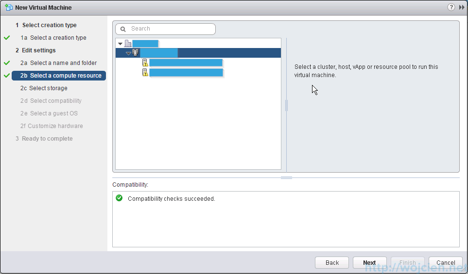 VMware ESXi 6.0 as nested virtual machine - select compute resource