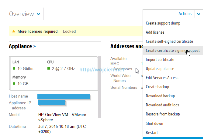 HP OneView SSL certificate replacement - wojcieh net