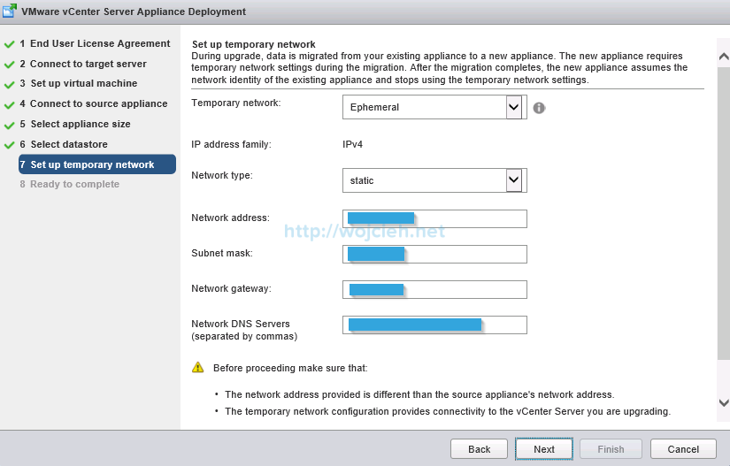 Upgrade vCenter Server Appliance from version 5 to version 6 - 12a