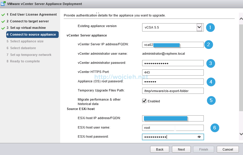 Upgrade vCenter Server Appliance from version 5 to version 6 - 7