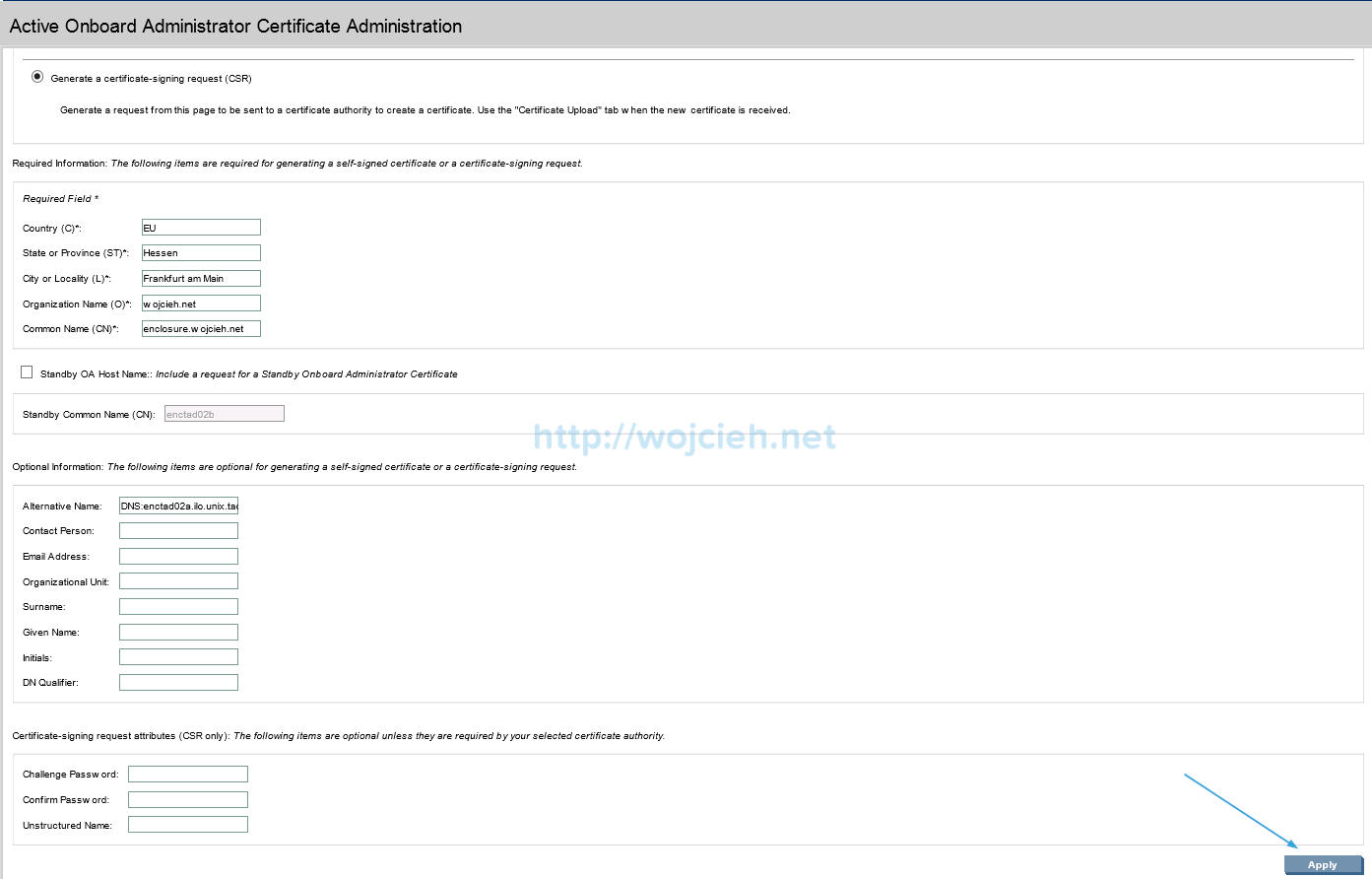 Installing signed SSL certificates in HP c7000 enclosure - 3
