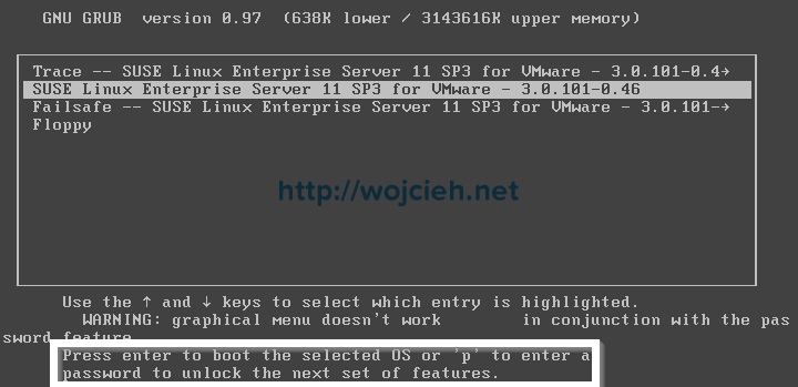 Securing VMware appliance GRUB - 5