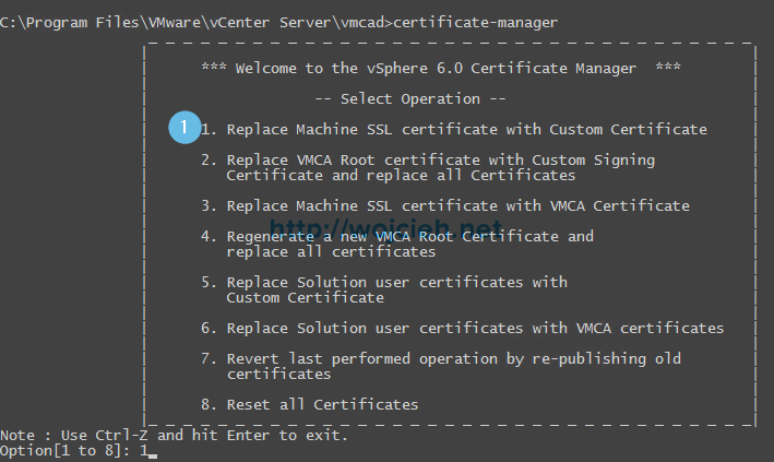 vCenter Server 6. - Replacing SSL certificates with custom VMCA - 1