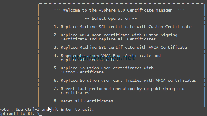 vCenter Server 6. - Replacing SSL certificates with custom VMCA - 8