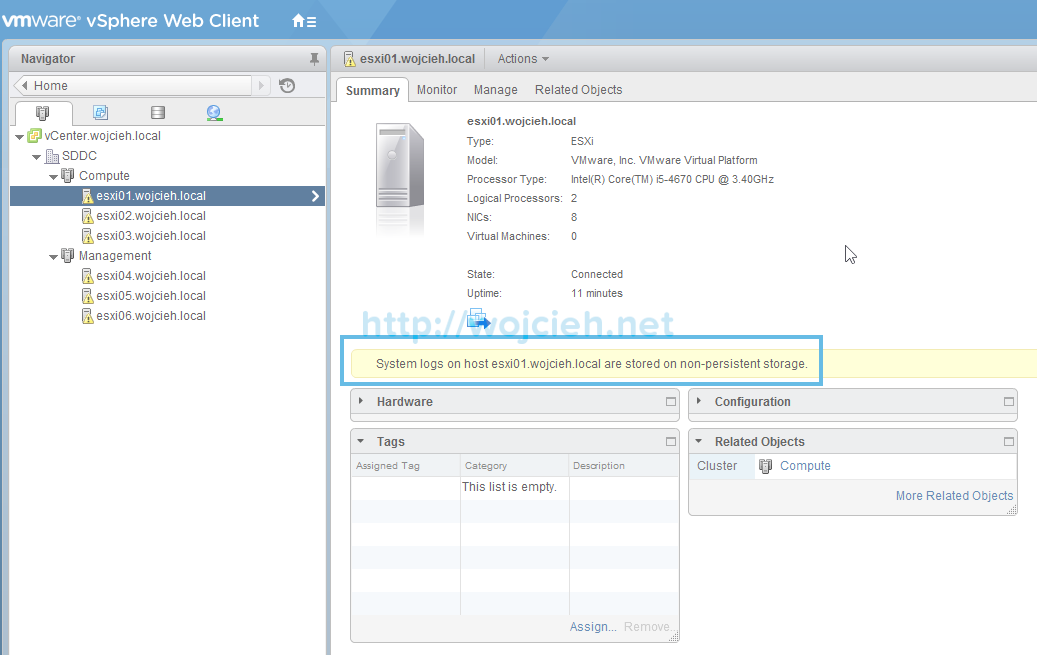 Change location of VMware ESXi System Logs to local or remote datastore -1