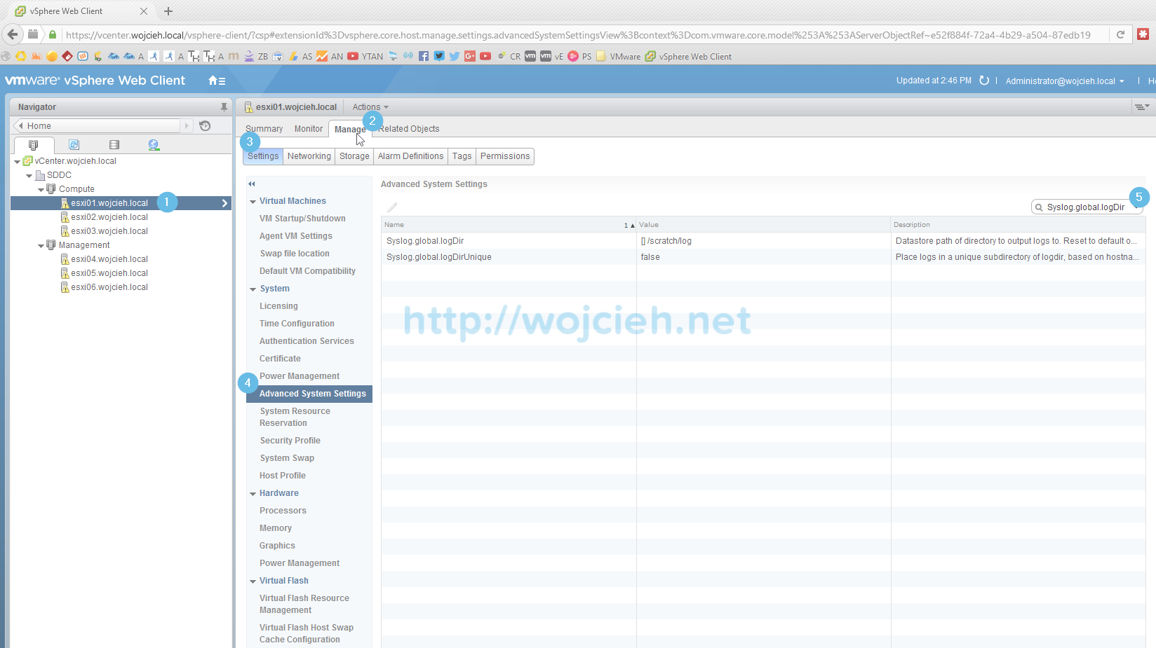 Change location of VMware ESXi System Logs to local or remote datastore