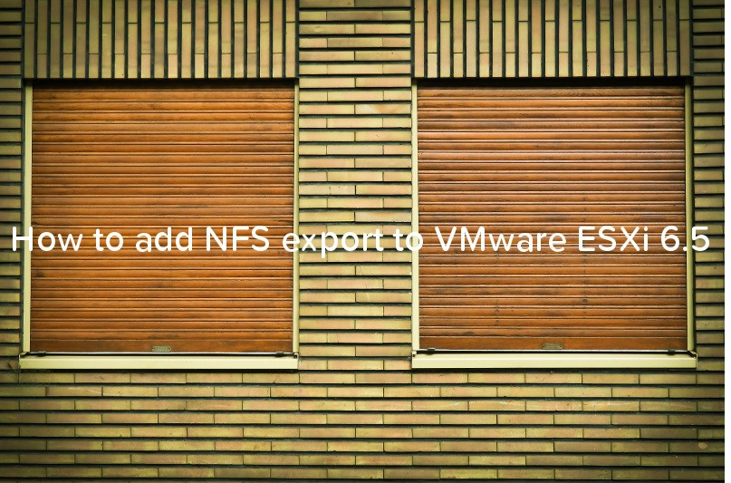 How to add NFS export to VMware ESXi 6.5 - logo