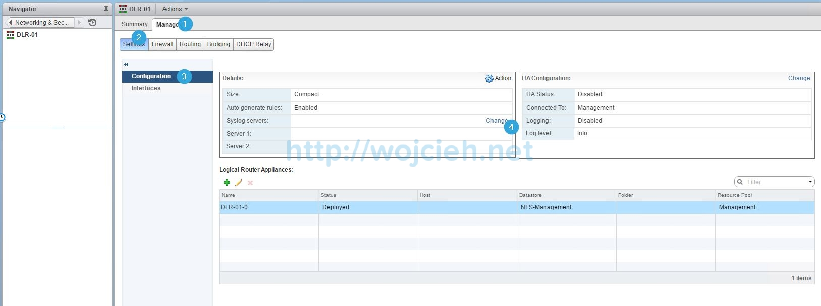 Configuring Syslog server for VMware NSX components - 14