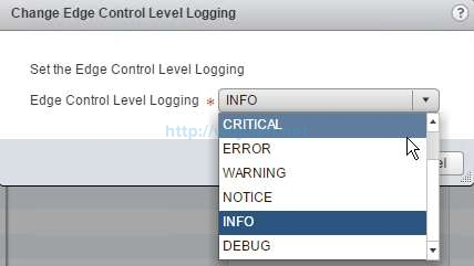 How to change logging level in NSX - 10