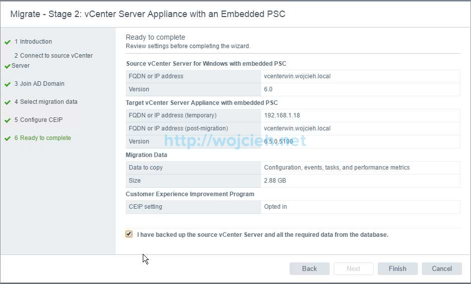 Upgrade of vCenter Server 6.x to vCenter Server 6.5 - 21