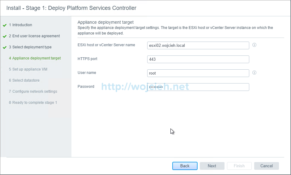 vCenter Server Appliance 6.5 with External Platform Services Controller - 5a