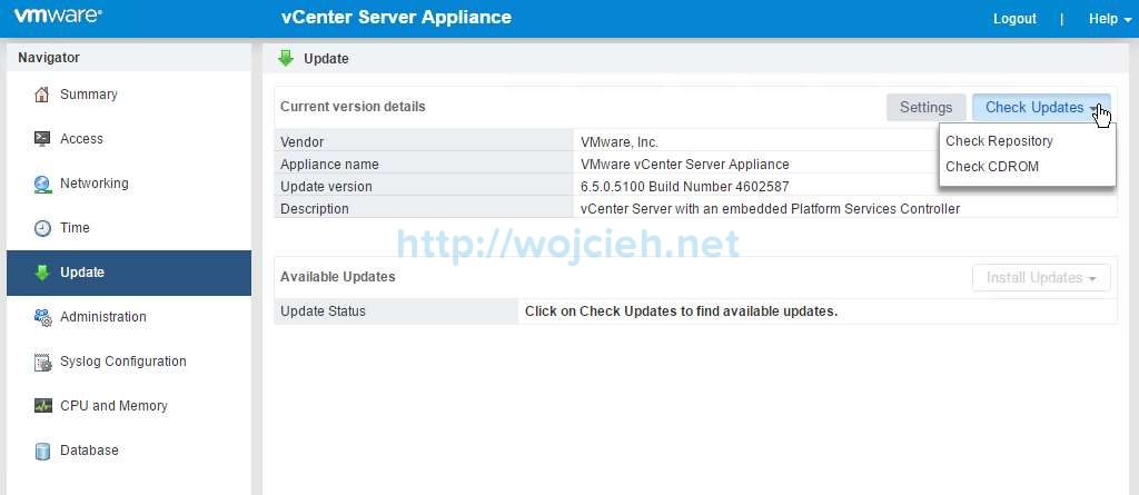 Update vCenter Server Appliance 6.5 to a newer version -3