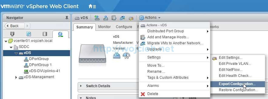 Backup vSphere Distributed Switch - 1a