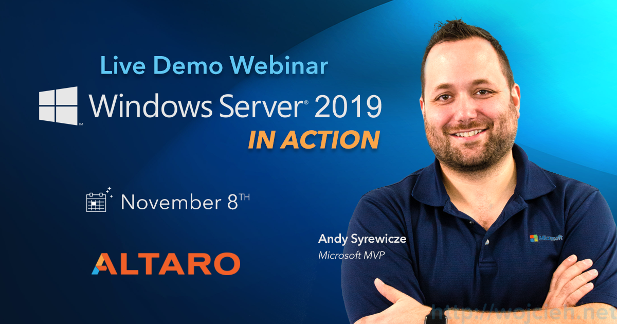 Altaro - live Demo Webinar - Windows Server 2019 In Action - logo Altaro